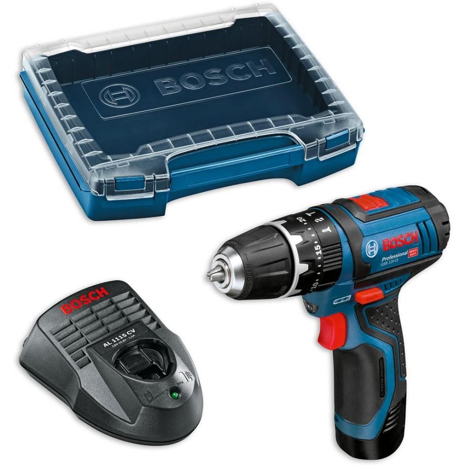Bosch GSB 12V-15 Cordless Combi Drill & L-Boxx Case 10.8V / 12V (2.0Ah)