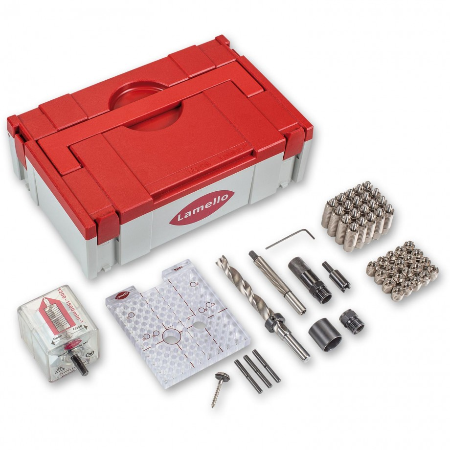 Lamello Invis Mx2 Starter Kit with 20 connectors and Rasto Drill Jig