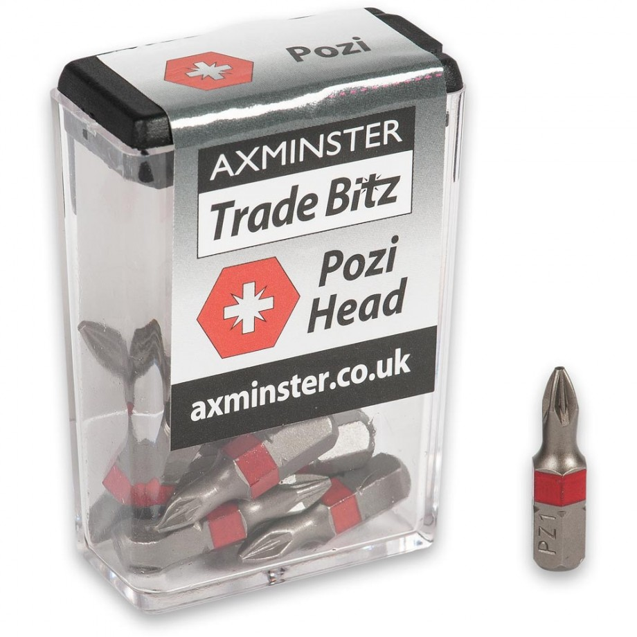 Axminster Trade Bitz Pozi PZ1 Screwdriver Bits 25mm (Pkt 10)