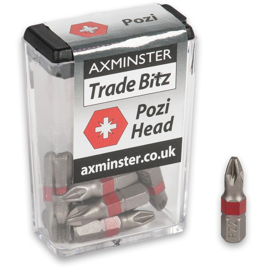 Axminster Trade Bitz Pozi PZ2 Screwdriver Bits 25mm (Pkt 10)