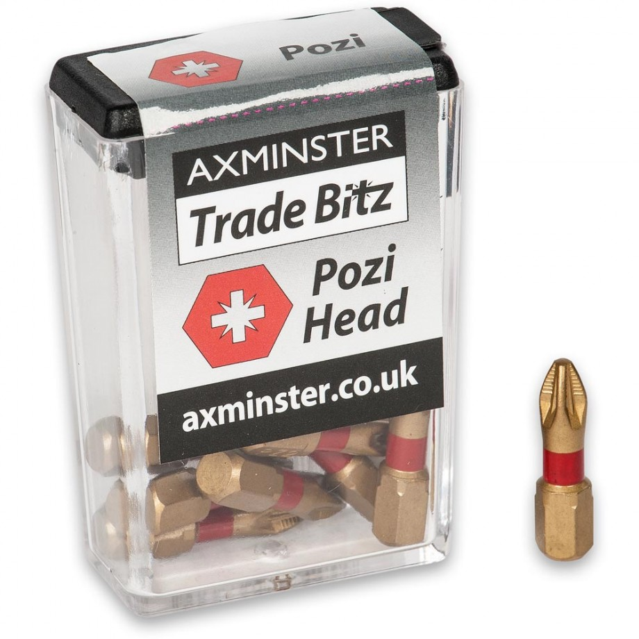 Axminster Trade Bitz TiN Coated Pozi Screwdriver Bits