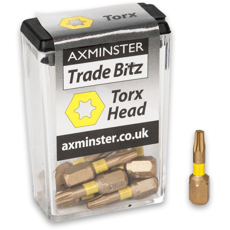 Axminster Trade Bitz TiN T10 S/Driver Bits 25mm (Pkt 10)