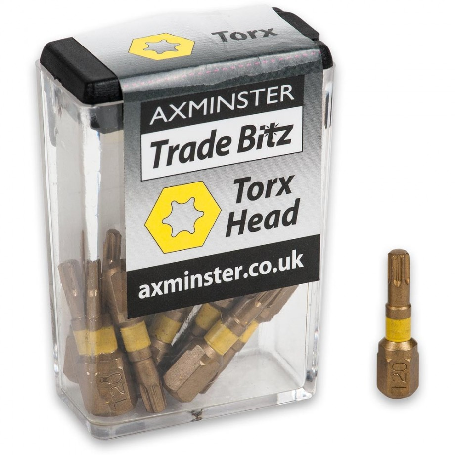 Axminster Trade Bitz TiN T20 S/Driver Bits 25mm (Pkt 10)
