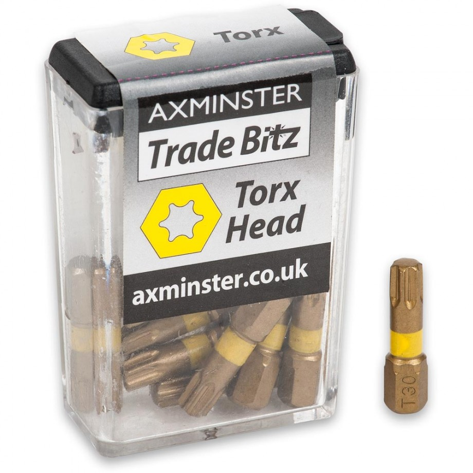 Axminster Trade Bitz TiN T30 S/Driver Bits 25mm (Pkt 10)