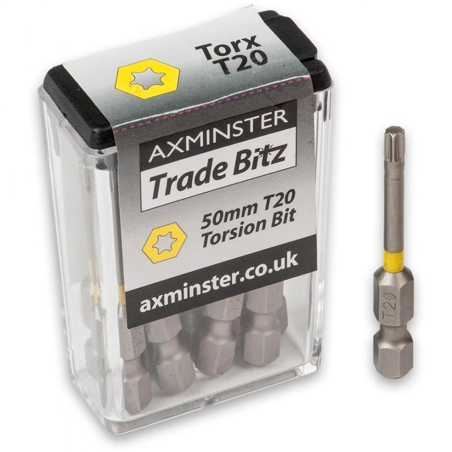 Axminster Trade Bitz Torx T20 Torsion Screwdriver Bits 50mm (Pkt 10)