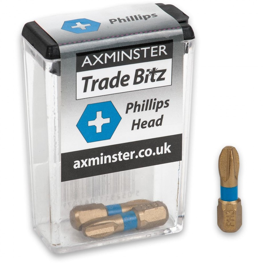 Axminster Trade Bitz TiN PH3 S/Driver Bits (Pkt 3)