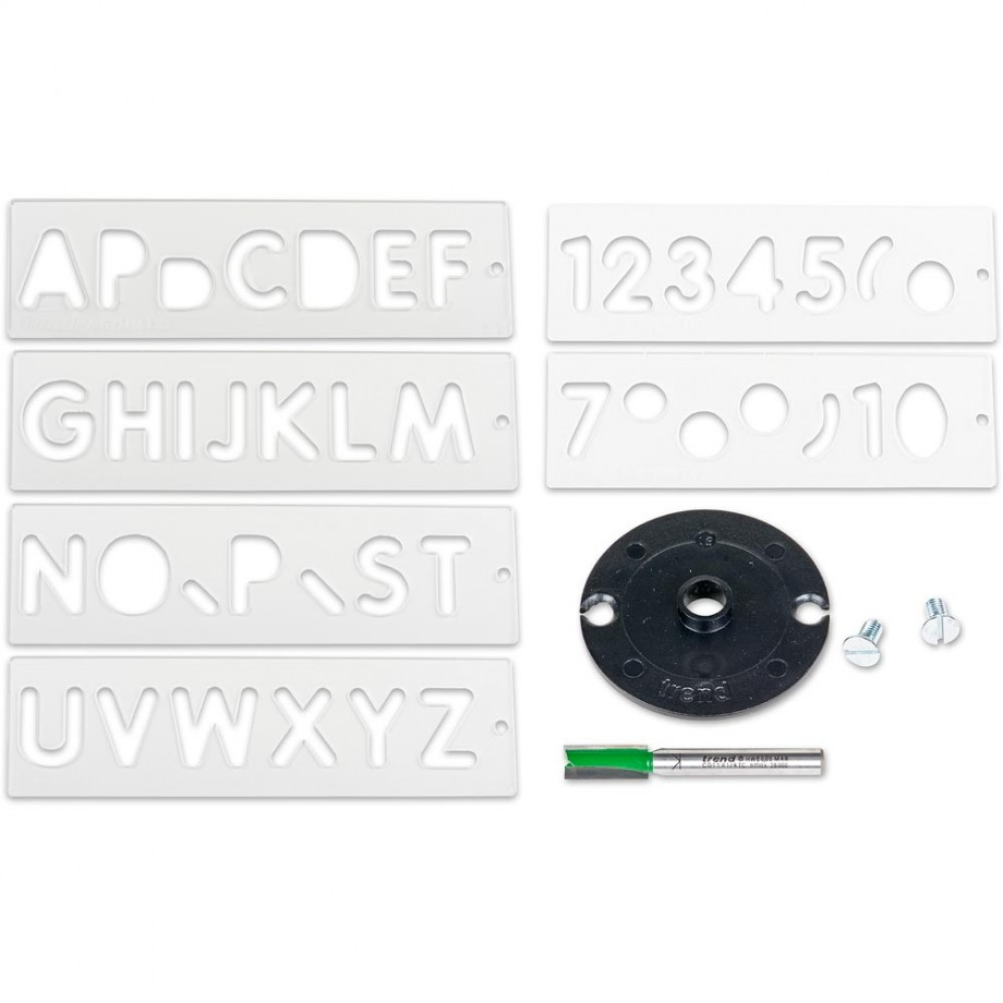 All 6 Trend Letter & Number Templates plus Cutter & Guide Bush