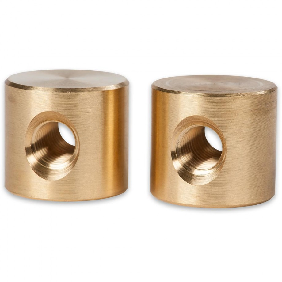 Axminster Brass Bed Bolt Nut - M10 (Pk of 2)