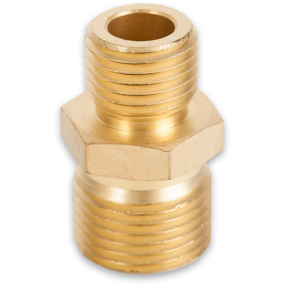 "Axminster Airline Fitting Reducer 3/8"" BSPT Male, 1/4"" BSPT Male"