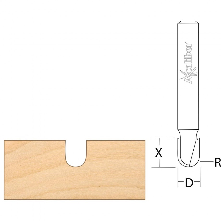 "Axcaliber Round Nose/Radius Cutters - 1/4"" Shank"