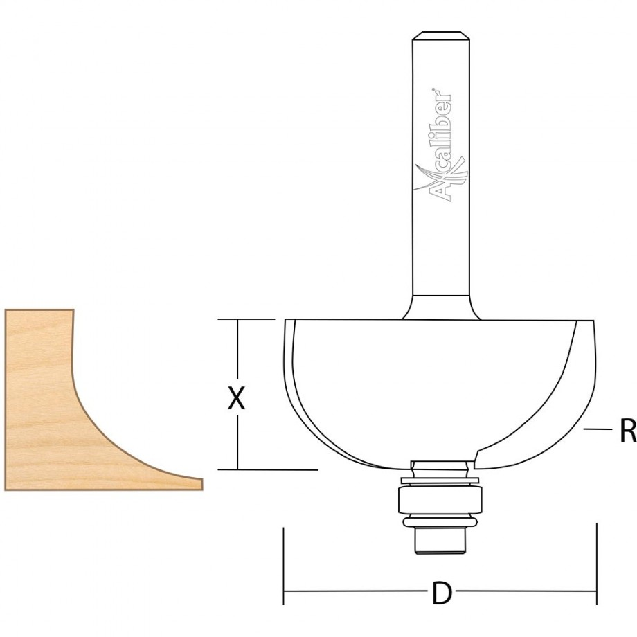 Axcaliber Cove Cutter - D=35 - X=16 - R=12.7mm - S=1/2""