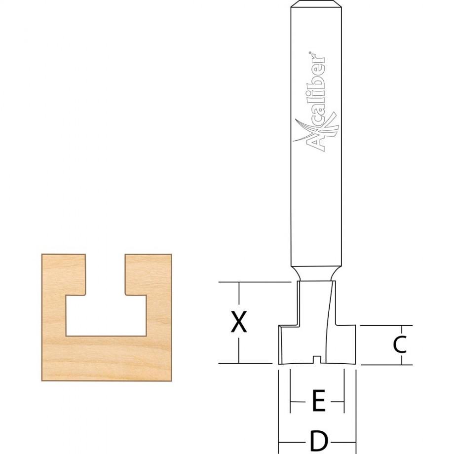 """Axcaliber Keyhole Cutter - D=9.5 - X=9.76 - C=4.8 - E=4.8mm - S=1/4""""(6.35mm)"""