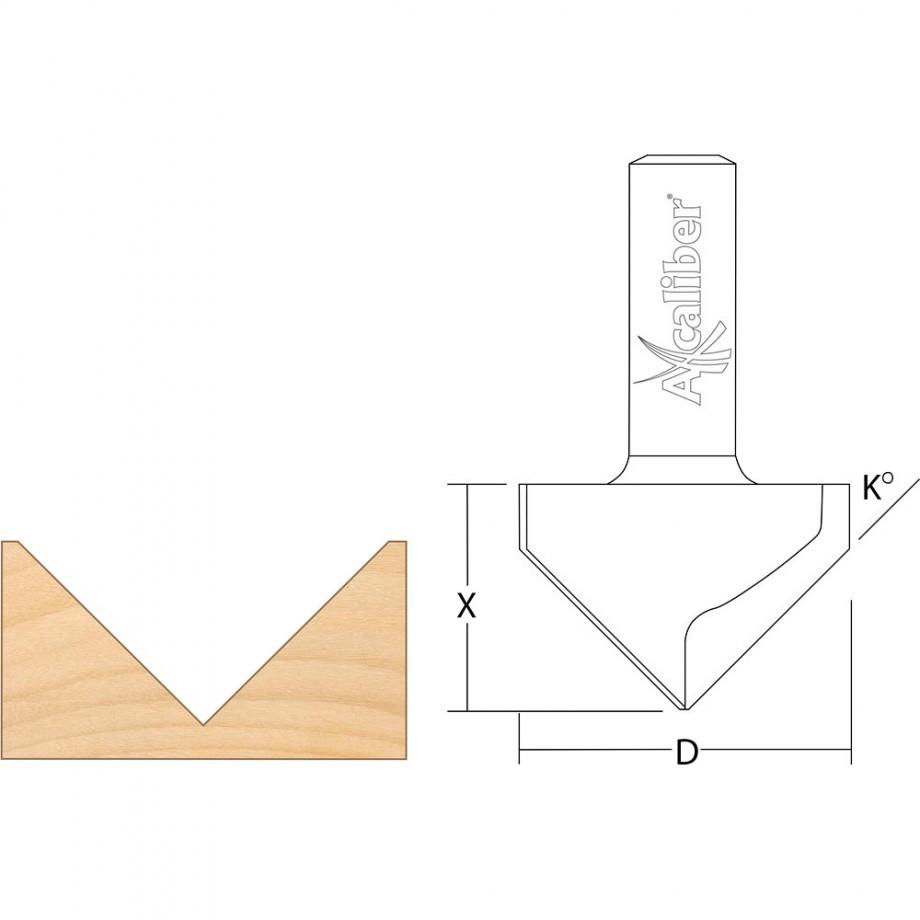 """Axcaliber Vee Groove Cutter - D=25.4 - X=19mm - K=45° - S=1/2""""(12.7mm)"""