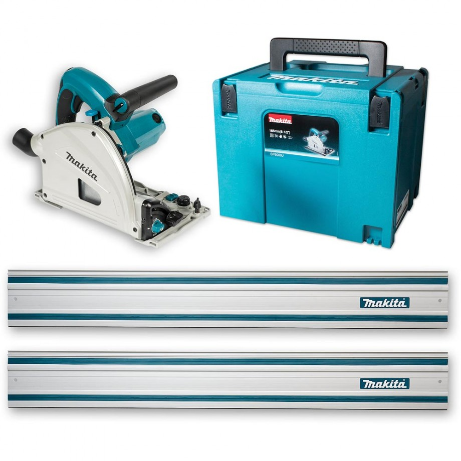 Makita SP6000J1 Plunge Saw & 2 x 1.4m Rail - 230V
