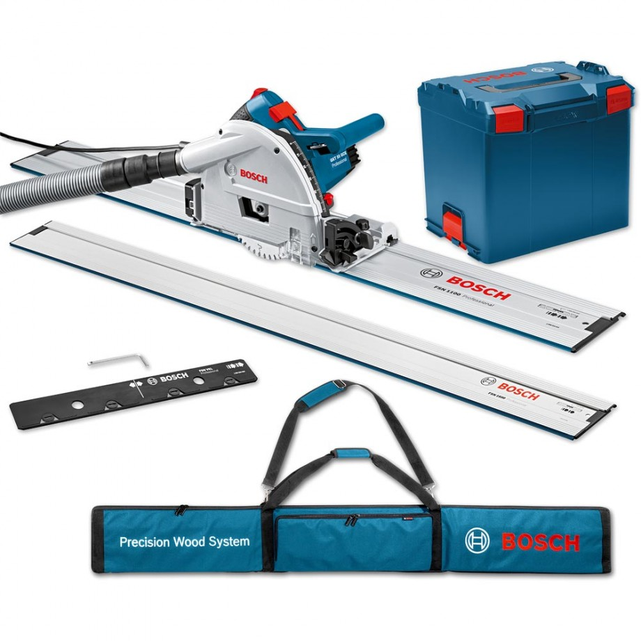 Bosch GKT 55 GCE Plunge Saw, 2 x 1.6m Rails, Connector & Rail Bag