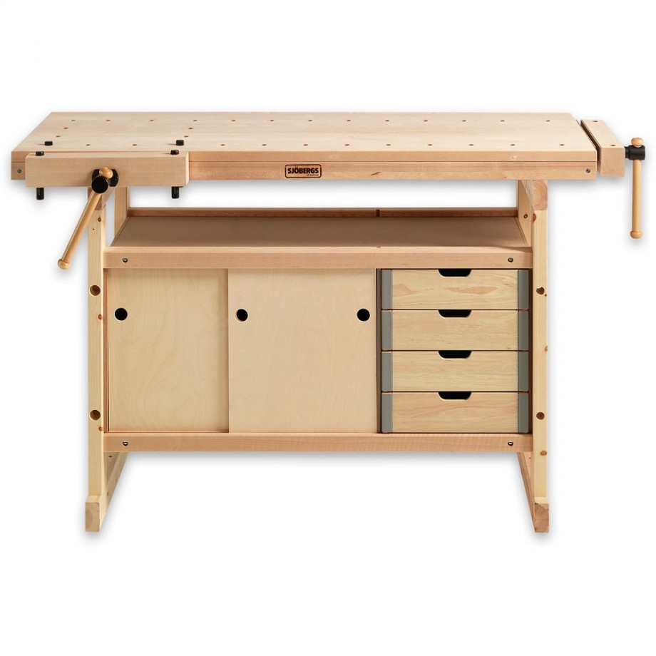 Sjobergs 1340 Workbench Birch c/w 0042 Storage Module