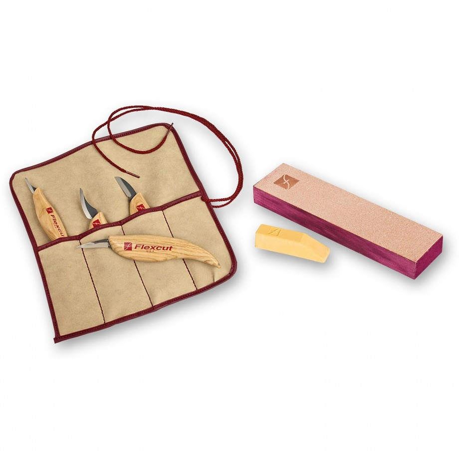 Flexcut 4 Piece Carving Knife Set & Knife Strop - PACKAGE DEAL