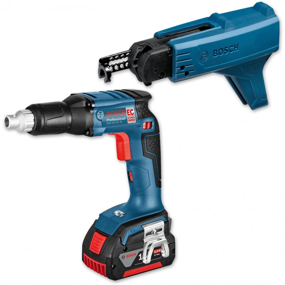 Bosch GSR 18 V-EC TE  Cordless Drywall Screwdriver Kit 18V 4.0Ah - PACKAGE DEAL