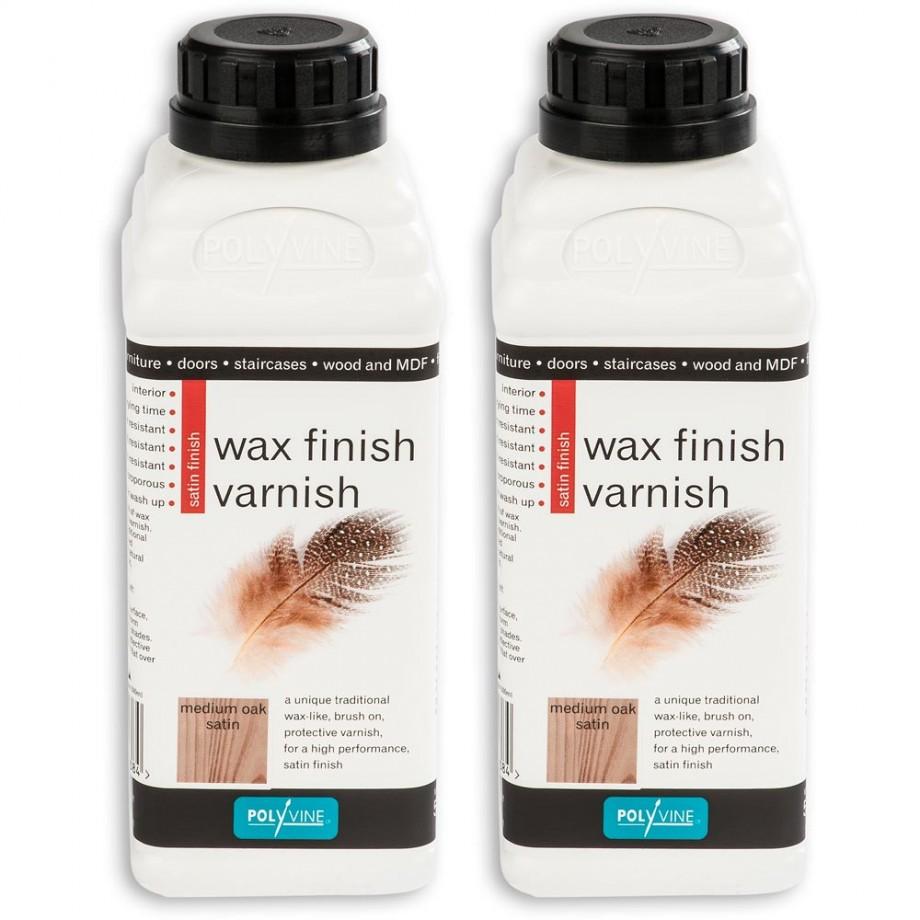 Polyvine Wax Finish Varnish - Medium Oak 1 litre