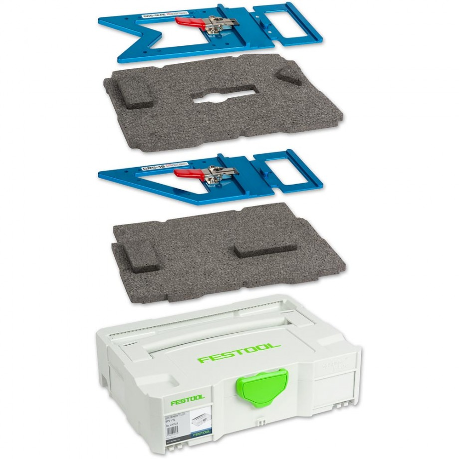 TSO Products Pair of Guide Rail Squares, Insert & Festool T-LOC Systainer