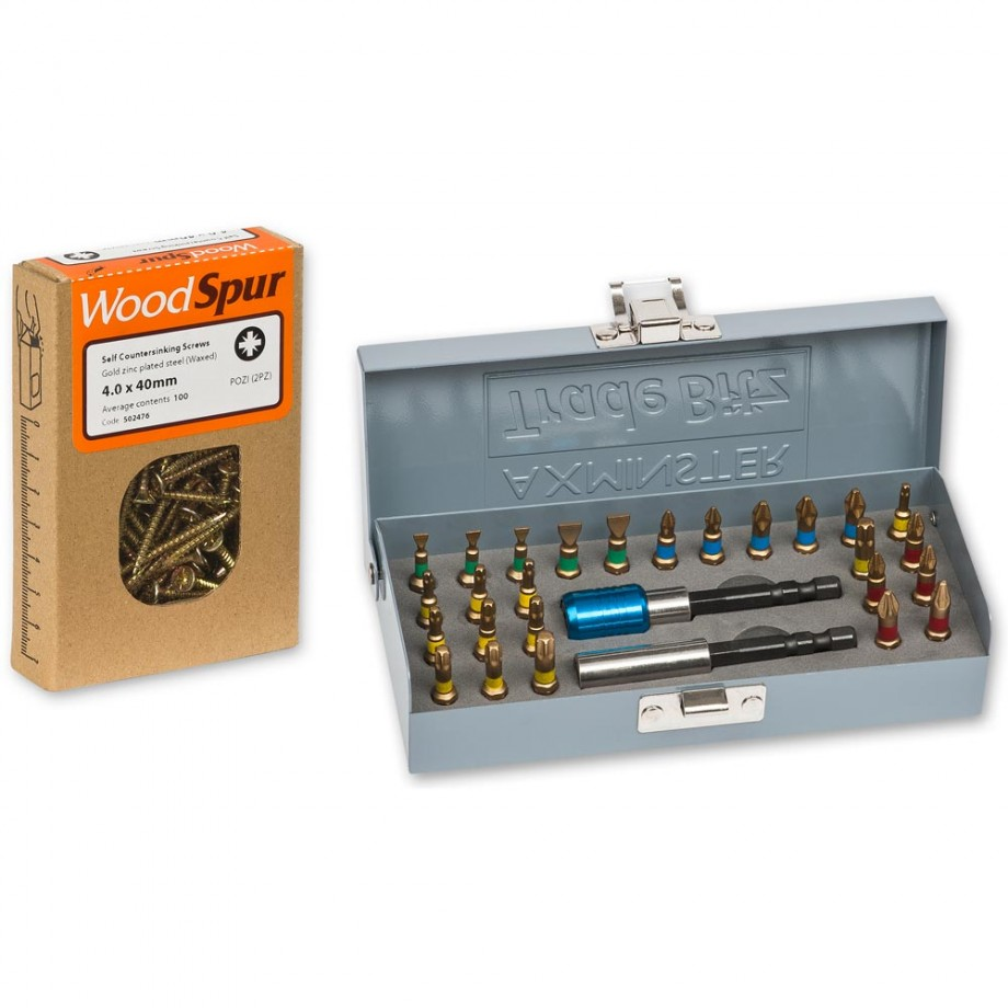 Axminster Trade Bitz 28 Piece Bit Set & Woodspur Screws Package