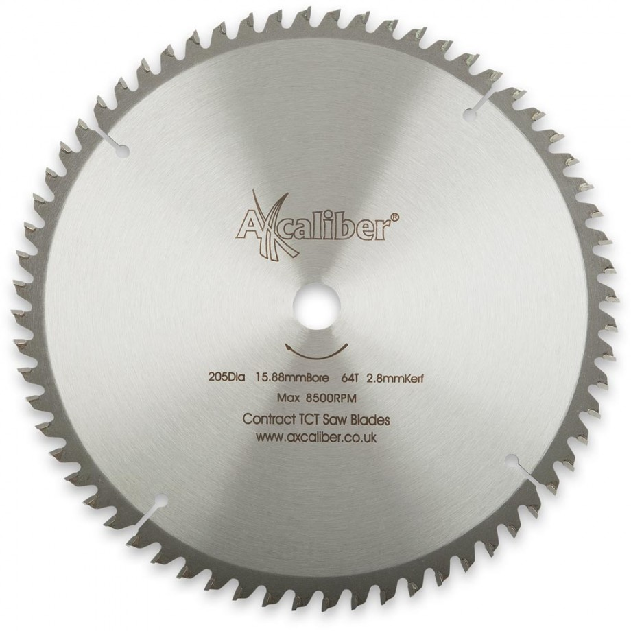 "Axcaliber Contract TCT Saw Blade - 205mm x 2.2mm x 5/8"" 64T Wood"