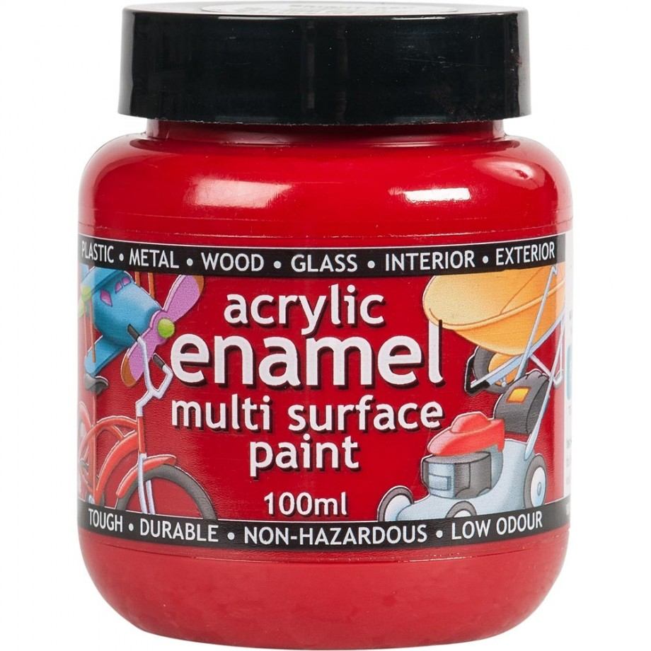 Polyvine Acrylic Enamel Paint - Bright Red 100ml