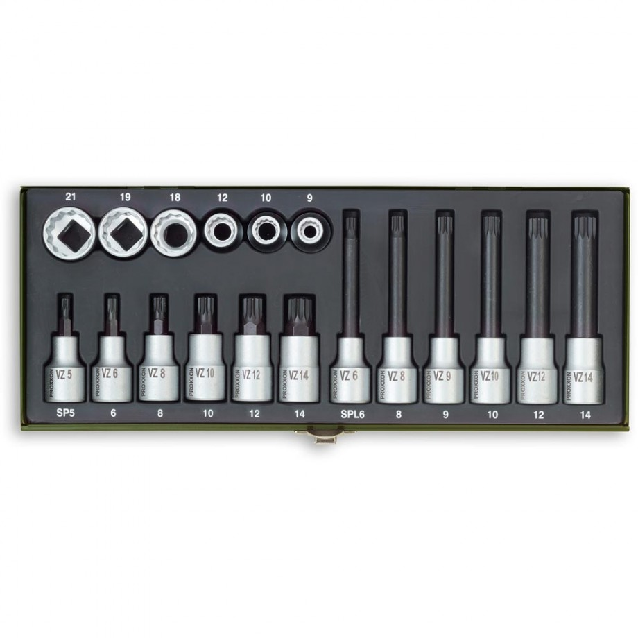 """Proxxon 18 Piece Special Socket Set for Multi-Toothed Screws (1/2"""")"""