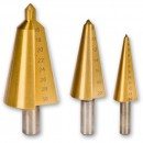 Axminster 3 Piece TiN Coated Conical Bit Set