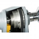 Three step poly-vee pulley system allows three speed ranges