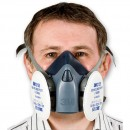Mask fitted with dust particle filters that clip directly to the mask