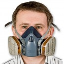 Mask fitted with gas and vapour cartridges