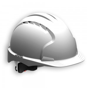 JSP EVO3 Safety Helmet with Wheel Ratchet - White