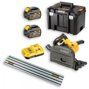 DeWALT DCS520T2 XR FLEXVOLT Plunge Saw, Guide Rail & 2 x 54V Batteries