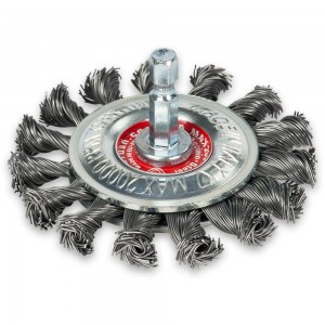 Twisted Steel 75mm Wire Wheel Brush with Hex Shank