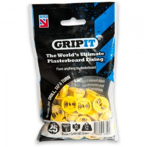 GripIt 15mm Plasterboard Fixings Yellow (Pkt 25)