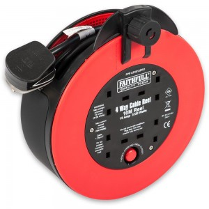 Faithfull Fast Rewind 4-Way Socket Cable Reel 10m 13A 230V