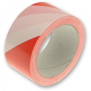 Faithfull Hazard Warning Safety Tape Red & White