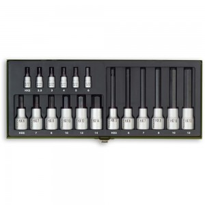 "Proxxon 18 Piece Hex Key Socket Set (1/4"" & 1/2"")"