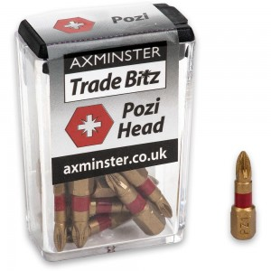Axminster Trade Bitz TiN PZ1 S/Driver Bits 25mm (Pkt 10)