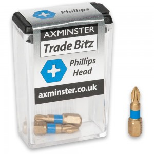Axminster Trade Bitz TiN Coated Phillips Screwdriver Bits
