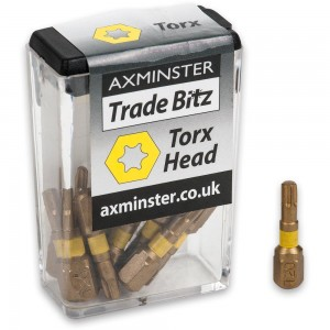 Axminster Trade Bitz TiN Coated Torx Screwdriver Bits