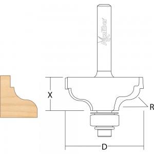 Axcaliber Bearing Guided Ogee Fillet Cutter