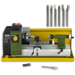 Proxxon FD150E Lathe, Splash Guard & 6 Pce Cutting Set - PACKAGE DEAL