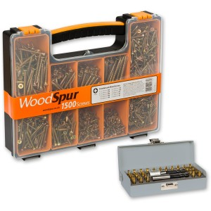 WoodSpur Pozi Wood Screws & 28 Pce TiN Bit Set - PACKAGE DEAL