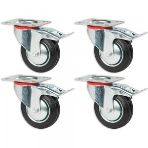 Axminster 100mm Castoring Wheel With Lock - Pack of 4