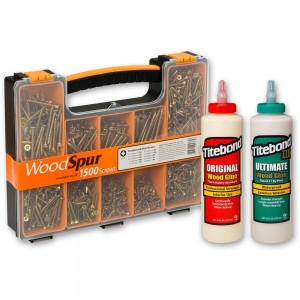 Woodspur Pozi Trial Pack & Titebond 16oz Wood Glues (I & III)