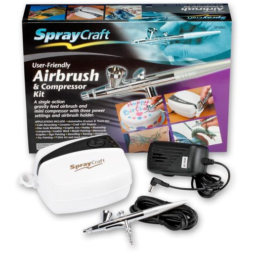 SprayCraft SP30 Top Feed Airbrush & Compressor Set