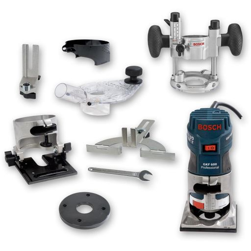 """Bosch GKF 600 Palm Router Kit (1/4"""") & TE 600 Plunge Base - PACKAGE DEAL"""