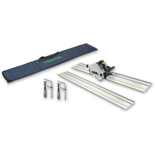Festool TS55R EBQ-Plus-FS Plunge Saw, 2 x 1,400mm Rails & Accessories 230V